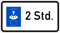 Verkehrszeichen - Parkscheibe 2 Stunden, Zusatzzeichen 1040-32