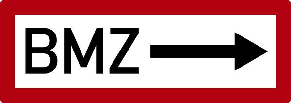 Brandschutzzeichen, BMZ (Brandmelderzentrale) mit Pfeil nach rechts - DIN 4066