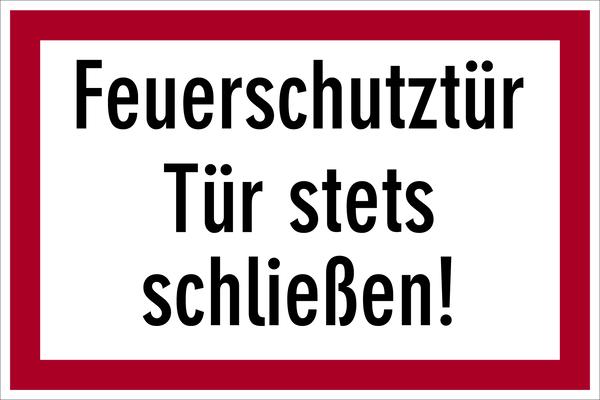 Brandschutzzeichen, Feuerschutztür Tür stets schließen! - angelehnt an DIN 4066