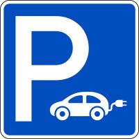 Parkplatzschild, Elektrofahrzeuge, 600 x 600 mm, Aluminium