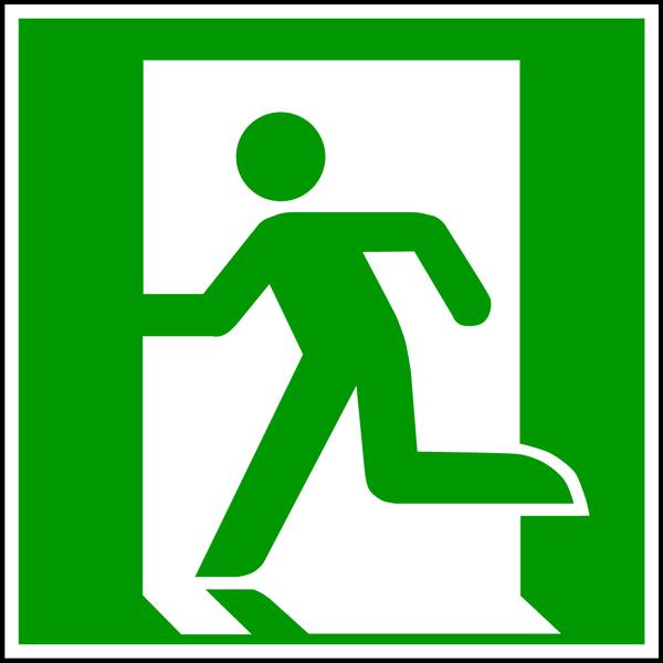 Rettungszeichen, Rettungsweg/Notausgang linksweisend E001 - ASR A1.3 (DIN EN ISO 7010)