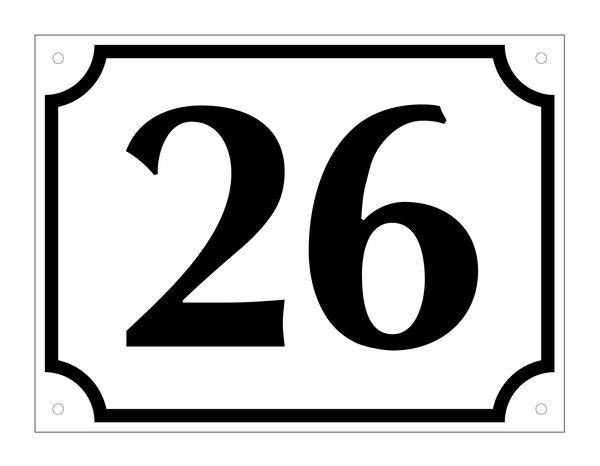 Hausnummer, Aluminium geprägt, zweistellig (Nr. 10-99), schwarz/weiß, 120 x 160 mm