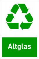 Design-Recyclingschild: Altglas, Folie selbstklebend, 150 x 100 mm