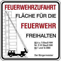 Brandschutzzeichen, Feuerwehrzufahrt - Der Bürgermeister