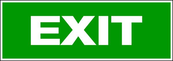 Rettungszeichen, Wortschild EXIT