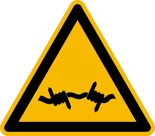 Warnzeichen, Warnung vor Stacheldraht W033 - ASR A1.3 (DIN EN ISO 7010)