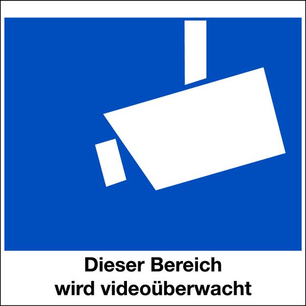 Hinweisschild, Dieser Bereich wird videoüberwacht - DIN 33450