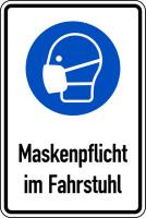 Gebotsschild, Kombischild, Maskenpflicht im Fahrstuhl, 300 x 200 mm, Folie