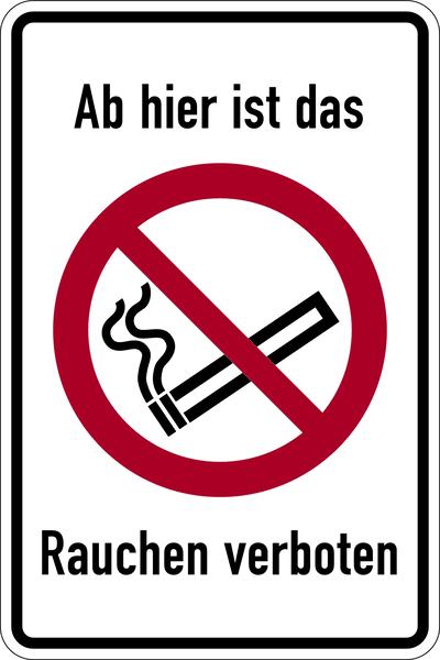Kombischild, Ab hier ist das Rauchen verboten - ASR A1.3 (DIN EN ISO 7010)