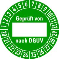 Prüfplakette, Geprüft von (Freifeld) nach DGUV Ø 30mm - VE = 10 Plaketten