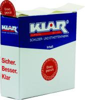 Prüfplakette, Elektr. geprüft, rot/weiß, Folie, Ø 30 mm - Spenderbox à 500 Stück