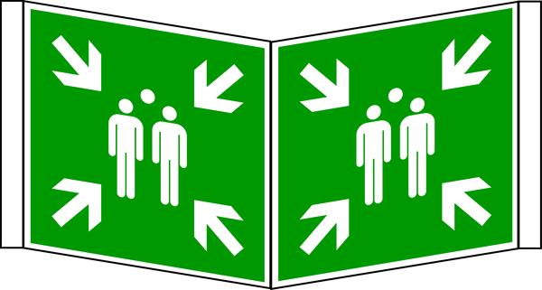 Rettungszeichen, Winkelschild Sammelstelle E007 - ASR A1.3 (DIN EN ISO 7010)