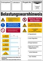Regalkennzeichnung mit Belastungswarnhinweisen, Kragarmregal - DIN EN 15635