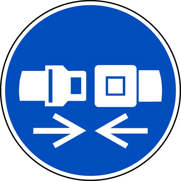 Gebotszeichen, Rückhaltesystem benutzen M020 - ASR A1.3 (DIN EN ISO 7010)