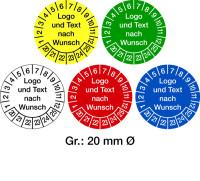 Prüfplaketten, Logo und Text nach Wunsch, Folie, Ø 20 - 40 mm - VE = 10 Stk.
