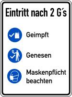Hinweisschild, Eintritt nach 2 G's