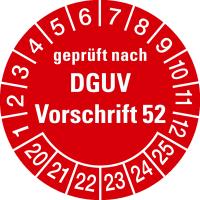 Prüfplakette, geprüft nach DGUV Vorschrift 52 Ø30 mm - VE = 10 Plaketten