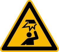 Warnzeichen, Warnung vor Hindernissen im Kopfbereich W020 - ASR A1.3 (DIN EN ISO 7010)