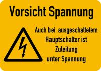 Warnschild, Zuleitung unter Spannung, Folie - ISO 7010