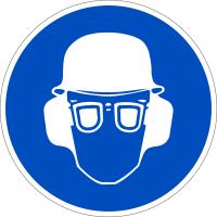 Gebotszeichen, Kopf-, Gehör- und Augenschutz benutzen - praxisbewährt