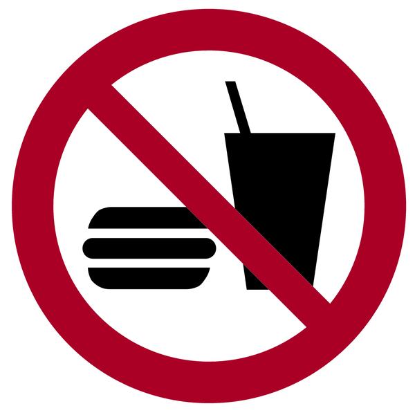 Verbotszeichen, Essen und Trinken verboten P022 - ASR A1.3 (DIN EN ISO 7010)