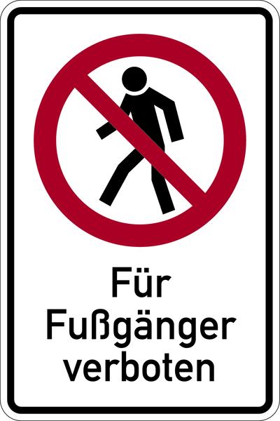 Kombischild, Für Fußgänger verboten - BGV A8