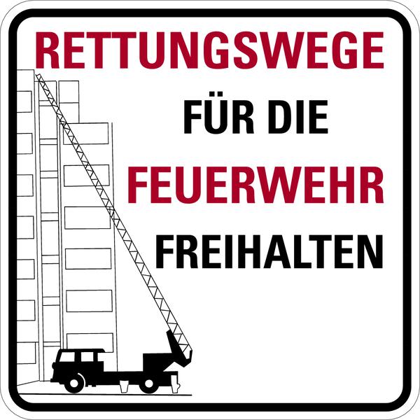 Brandschutzzeichen, Rettungswege für die Feuerwehr mit Text nach Wunsch
