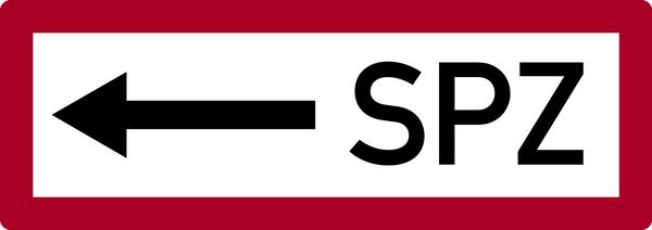 Brandschutzzeichen, SPZ (Sprinklerzentrale) mit Pfeil nach links - DIN 4066