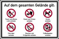 Hinweisschild, Betriebsgelände Feuer und offenes Licht verboten, Aluverbund, 600 x 900 mm