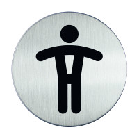 WC-Piktogramm, Herren, Edelstahl, Ø 83 mm