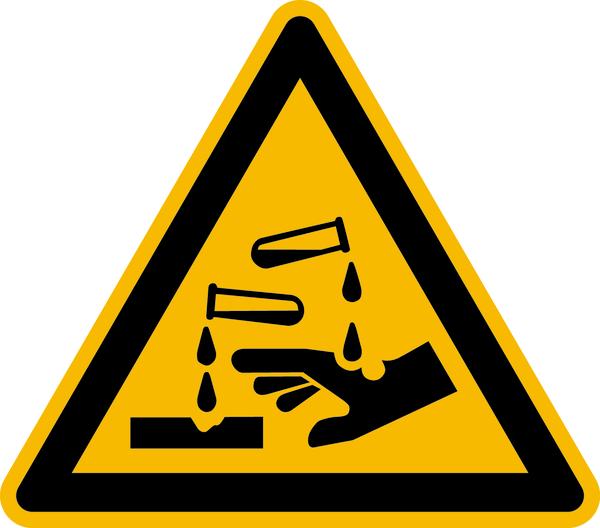 Warnzeichen, Warnung vor ätzenden Stoffen W023 - ASR A1.3 (DIN EN ISO 7010)