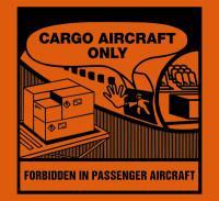 Versandetikett, Cargo aircraft only - verschiedene Ausführungen