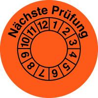 Prüfplakette, Nächste Prüfung, orange/schwarz, Folie, Ø 35 mm - VE = 10 Plaketten