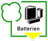 Abfallkennzeichen, Batterien, Folie