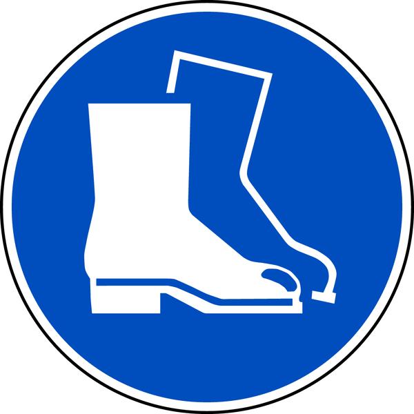 Gebotszeichen, Fußschutz benutzen M008 - ASR A1.3 (DIN EN ISO 7010)