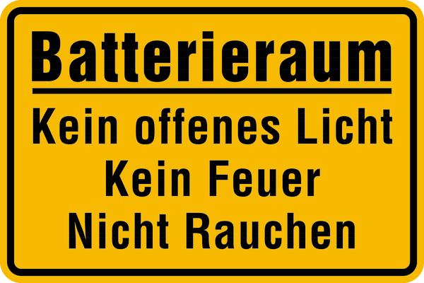 Hinweisschilld, Batterieraum - gelb