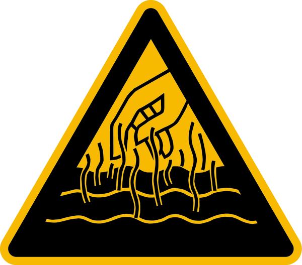 Warnzeichen Warnung vor heißen Flüssigkeiten und Dämpfen