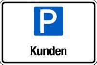 Parkplatzschild, Kunden, 200x300mm, Aluverbund