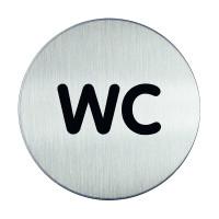"WC-Piktogramm, ""WC"", Edelstahl, Ø 83 mm"