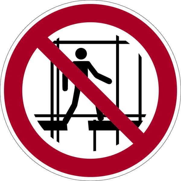 Verbotszeichen, Benutzung des unvollständigen Gerüstes verboten P025 - ASR A1.3 (DIN EN ISO 7010)