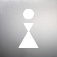 WC-Piktogramm, Damen, 160 x 160 mm, Edelstahl