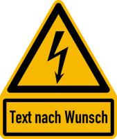Warnschild, Warnung vor elektrischer Spannung (W012) + Wunschtext, 237 x 200 mm