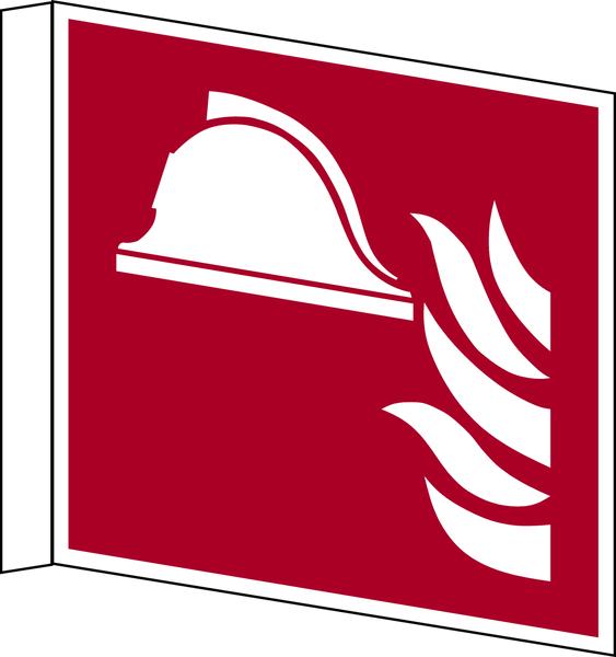 Brandschutzzeichen, Fahnen-/Nasenschild Mittel und Geräte zur Brandbekämpfung - ASR A1.3 (ISO 7010)