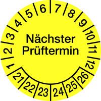 Prüfplakette, Nächster Prüftermin, Folie, gelb/schwarz, Ø 60 mm - VE = 4 Plaketten