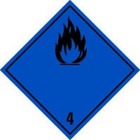 Gefahrzettel, Klasse 4.3 - Stoffe, die in Berührung mit Wasser entzündbare Gase entwickeln (b./sch.)
