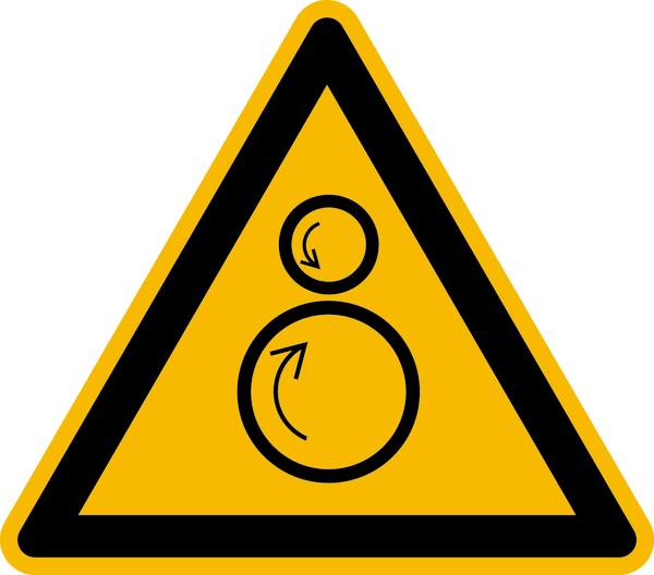 Warnzeichen, Warnung vor gegenläufigen Rollen W025 - ASR A1.3 (DIN EN ISO 7010)