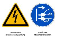 Kombischild, Elektrische Spannung / Netzstecker ziehen, 148 x 210 mm