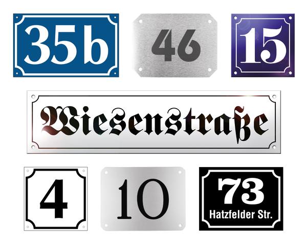 Hausnummern- und Straßenschilder