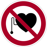 Verbotszeichen, Verbot für Personen mit Herzschrittmacher D-P011 - DIN 4844
