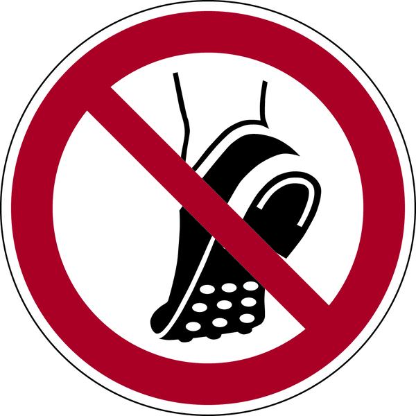 Verbotszeichen, Metallbeschlagenes Schuhwerk verboten P035 - ASR A1.3 (DIN EN ISO 7010)